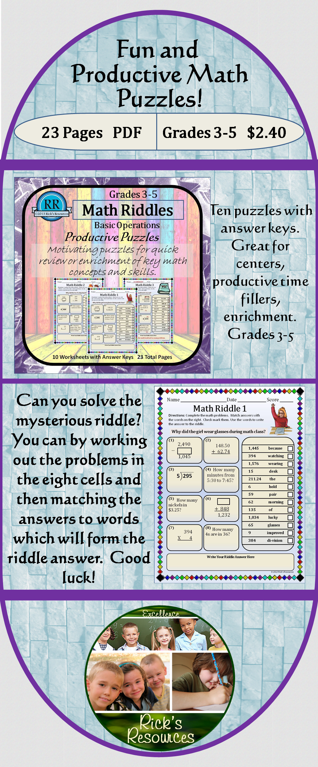 Math Puzzles Basic Operations Set 4: Riddles | Students, Math and School