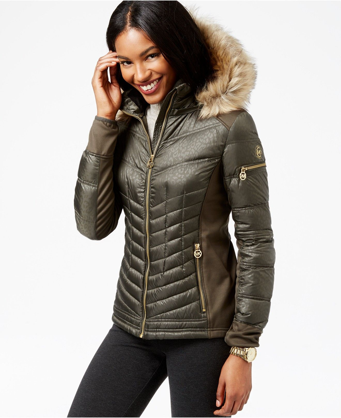 MICHAEL Michael Kors Faux-Fur-Trim Quilted Down Coat - Coats ...