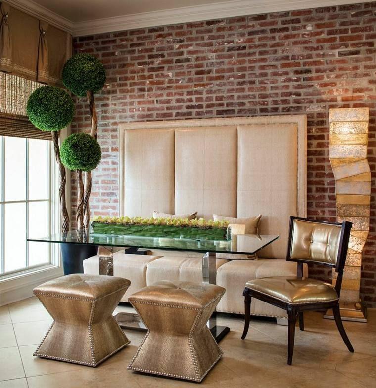 Déco salle à manger avec mur brique  50 idées originales Exposed - Salle A Manger Parquet