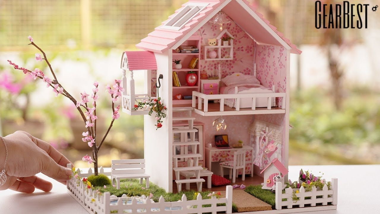 Diy miniature cherry blossoms dollhouse with pool spring