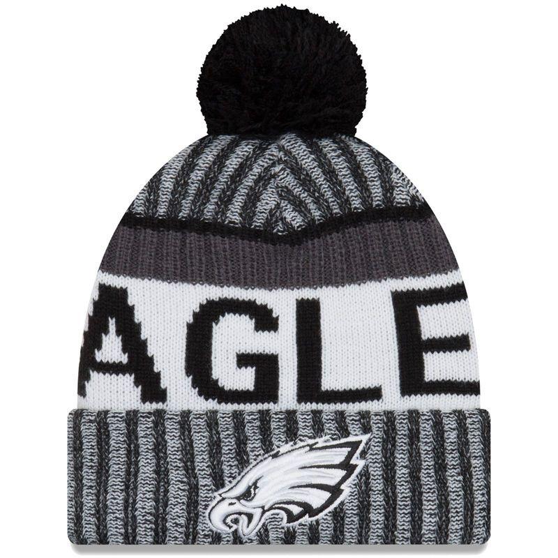 14b7af4c9fc4e Philadelphia Eagles New Era 2017 Sideline Cold Weather Sport Knit Hat -  Black White