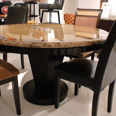wood and granite stone dining table set in round shape ...
