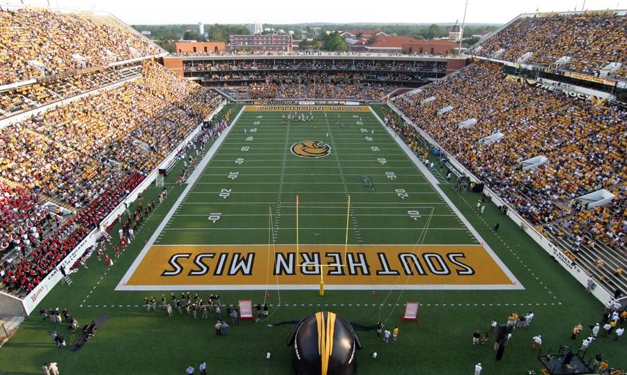 University Of Southern Mississippi Golden Eagles Football M M Roberts Stadium The Rock Southern Mississippi Football Stadiums Mississippi Football