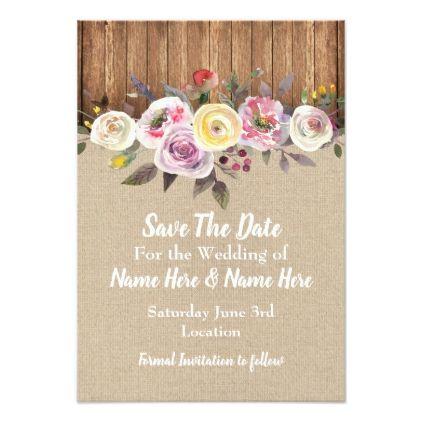 Save The Date Burlap Wood Floral Engagement Invite  Burlap