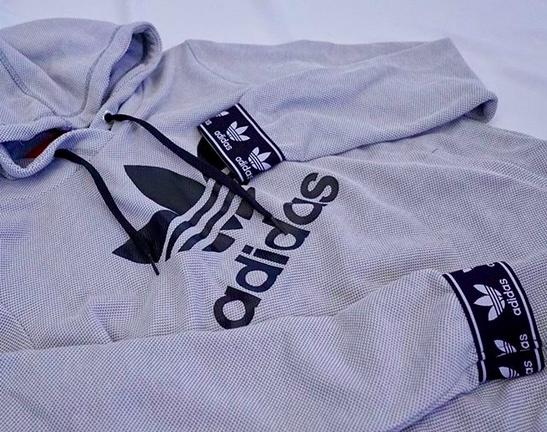 5938dbaea7f25 adidas Trefoil Jacquard Cuff Grey Hoodie | trendy | Clothes, Adidas ...