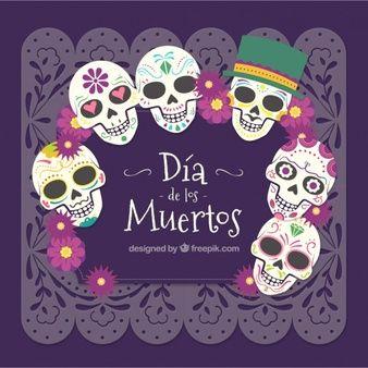 Fondo De Calaveras Del Día De Los Muertos Mexicano Dia De Los Fieles Difuntos Marcos Dia De Muertos Dia De Muertos