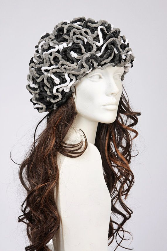 White grey multicolour ruffle beret hat by MargeIilane on Etsy, $49.90
