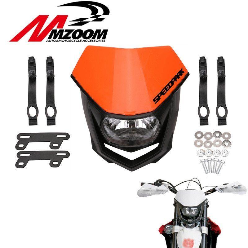 Motorcycle White Black Orange Universal Head Lamp Lighting Enduro