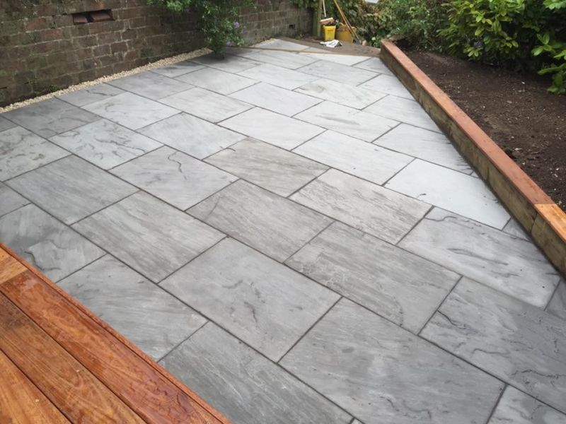 Siver grey indian sandstone paving large size 900x600 for Garden decking jewsons