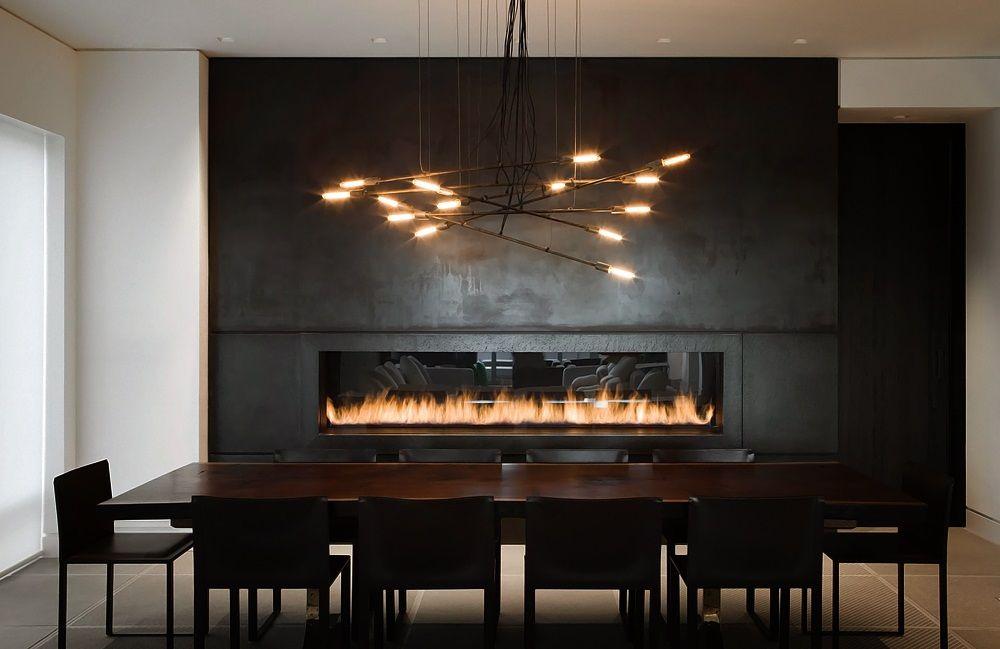 Sleep Minimal Dining Room With Fireplace