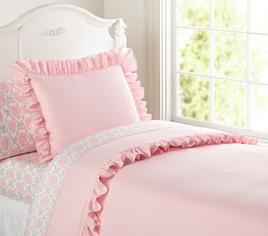 Ruffle Duvet Cover Twin Pink