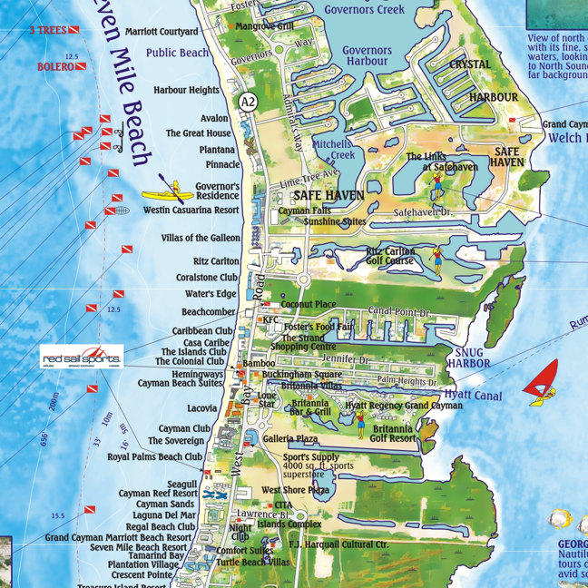 Mile Beach Cayman Islands Map