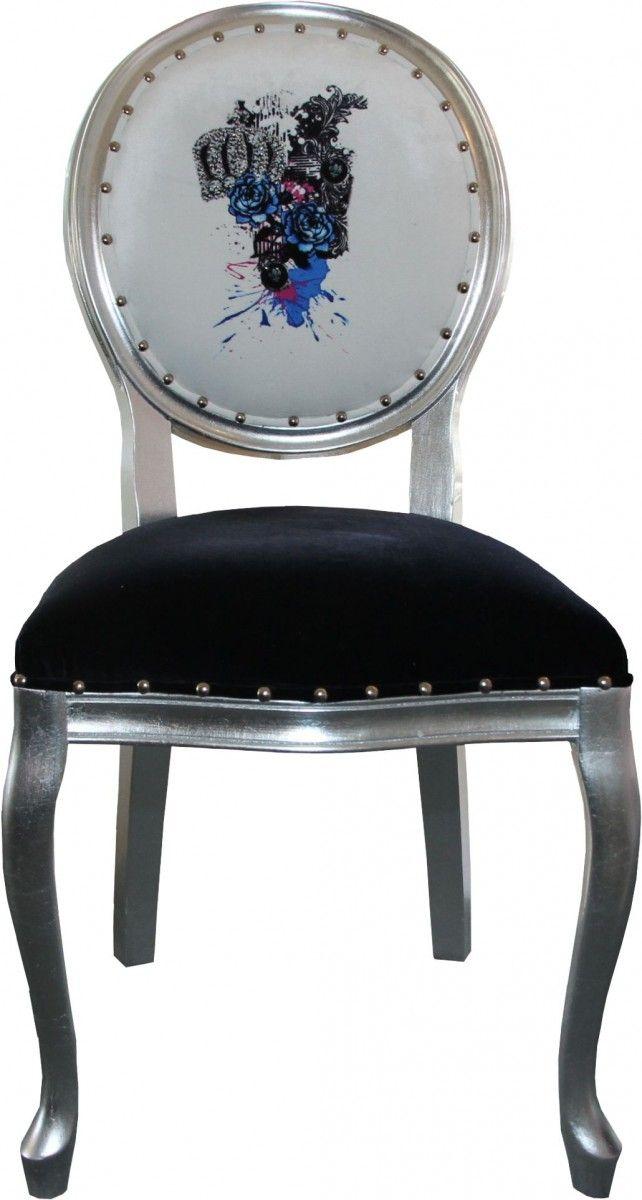 Attractive Barock Esszimmer Stuhl #5: Pompöös By Casa Padrino Luxus Barock Esszimmer Stuhl Schwarz / Weiss /  Silber - Pompööser Barock