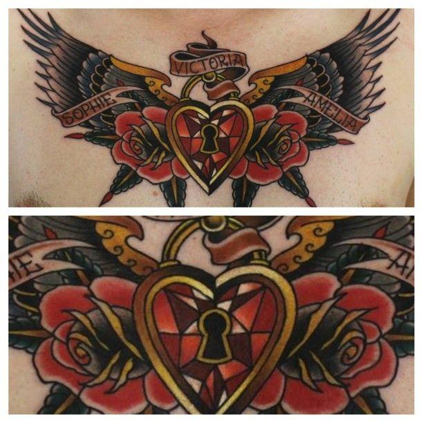 Neo Traditional Heart Locket Wing Tattoo By Phatt German Heart