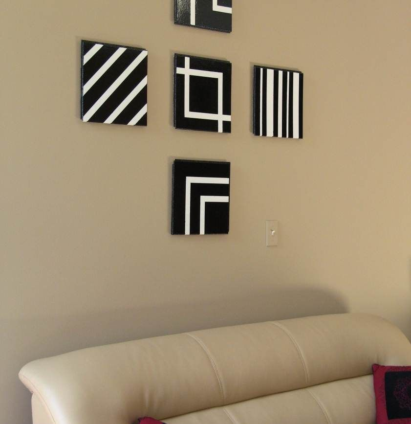 simple diy black white stripe square canvas wall decor for artistic living room walls decoration