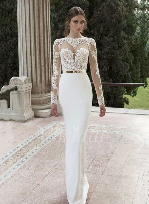 Trumpet/Mermaid Scoop Neck Sweep Train Tulle Lace Jersey Wedding ...