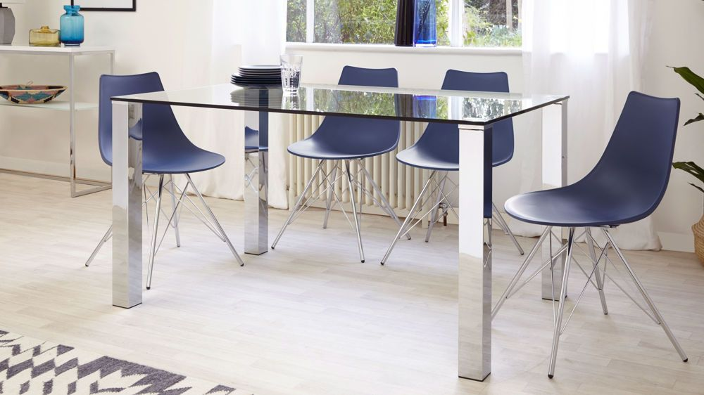 Tiva 4 To 6 Seater Glass And Chrome Dining Table Glass Dining Table Dining Table Contemporary Dining Sets
