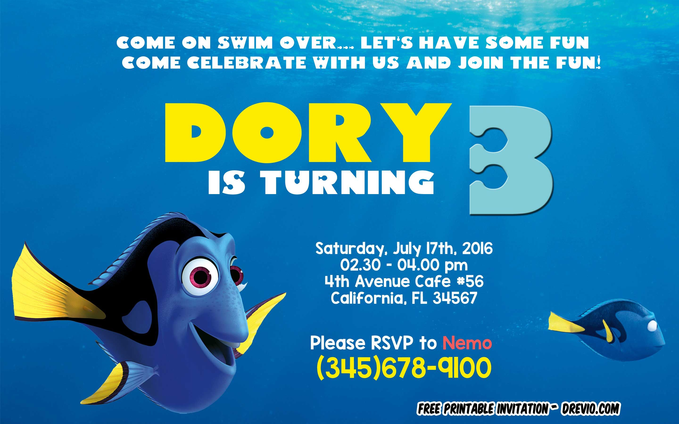 Download Now Free Finding Dory Invitation Template Psd Bagvania