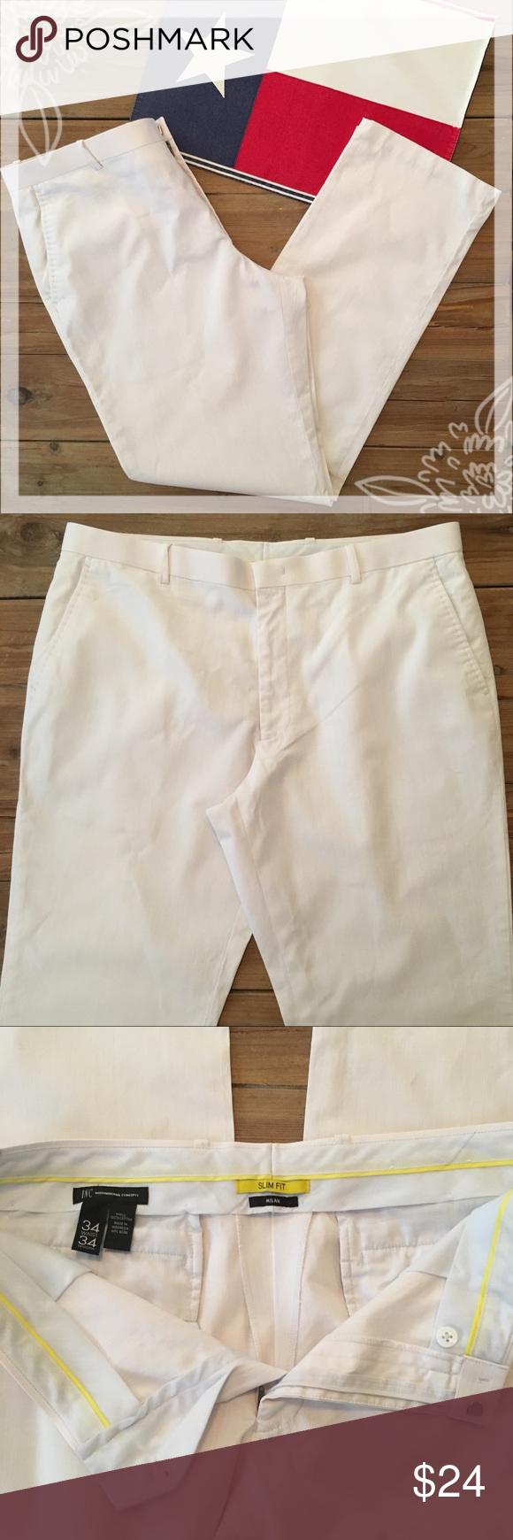 INC (International Concepts) White Slacks INC (International Concepts) White Slacks. Size 34/34. Milan Slim Fit. 4-pocket slacks (back pockets have hidden buttonholes). Front zipper/button/hook & eye closure. Excellent used condition.  INC (International Concepts) White Slacks INC (International Concepts) White Slacks. Size 34/34. Milan Slim Fit. 4-pocket slacks (back pockets have hidden buttonholes). Front zipper/button/hook & eye closure. Excellent used condition. #whiteslacks