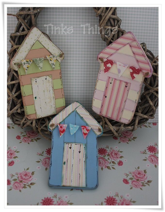 Wooden Painted Houses Summer Beach Huts Crafts Wooden Crafts Hobbies And Crafts