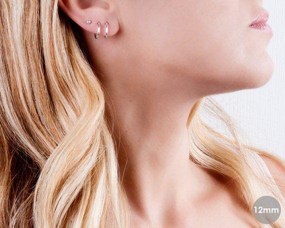 a90c82e1e878 Sterling Silver Hoop Earrings, Tiny Hoop Earrings, Simple Gypsy Earrings,  Delicate Hoops, Mini Hoop