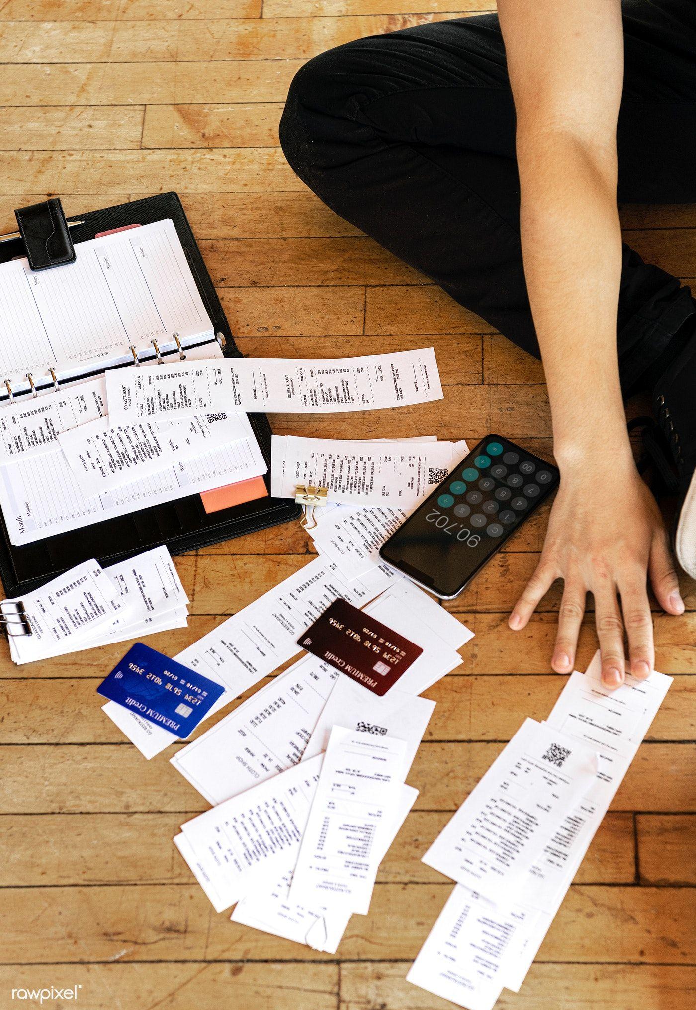 Download premium photo of paying bills online via