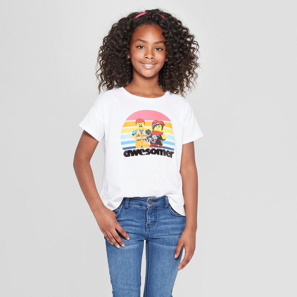 b6b9c891 Girls' The Lego Movie 2 Flip Sequin Short Sleeve T-Shirt - White XS ...