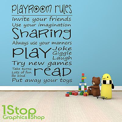 #Playroom #rules wall #sticker quote - bedroom girls boys wall art decal x120 View more on the LINK //.zeppy.io/product/gb/2/281527037085/  sc 1 st  Pinterest & Playroom #rules wall #sticker quote - bedroom girls boys wall art ...
