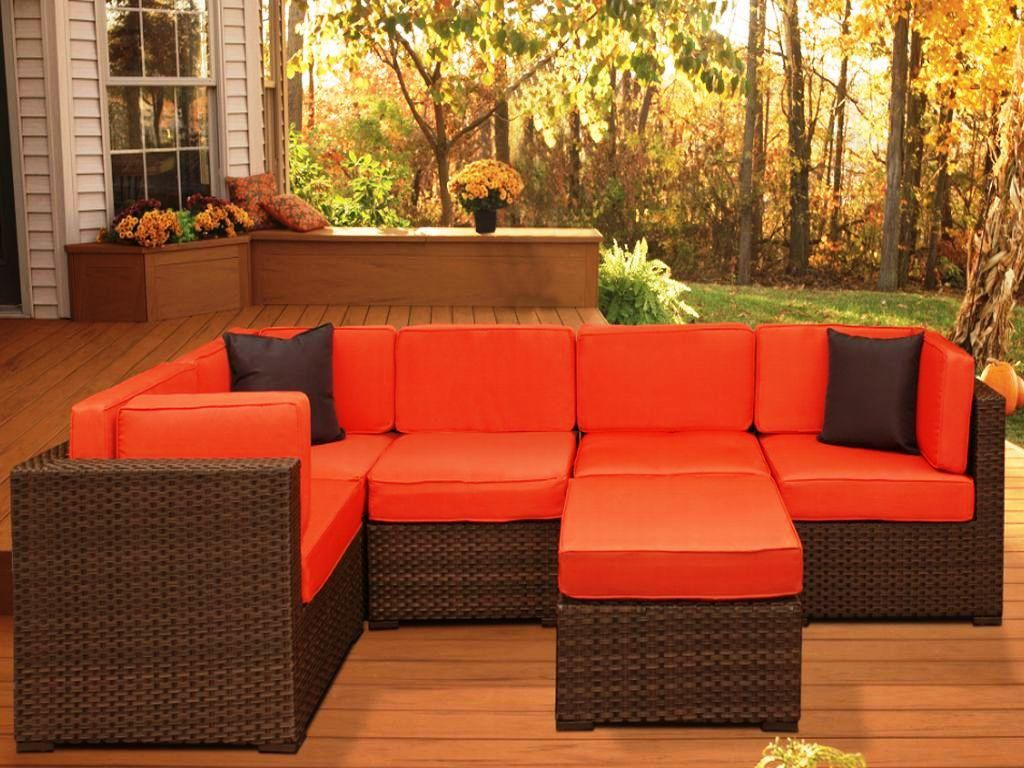 Orange Patio Chairs orange-outdoor-sectionals-on-wooden-deck-for-outdoor-patio-design