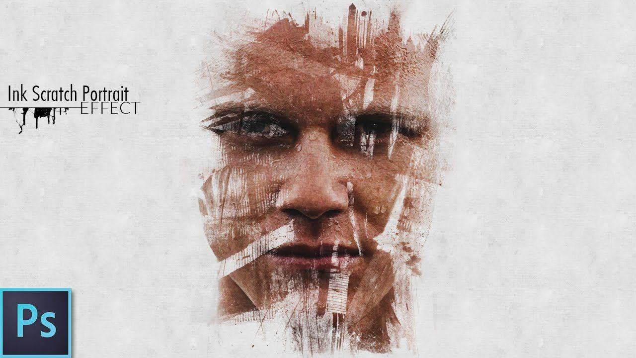 Photoshop Photo Line Art Effect : Ink scratch portrait effect psd photoshop tutorial digital