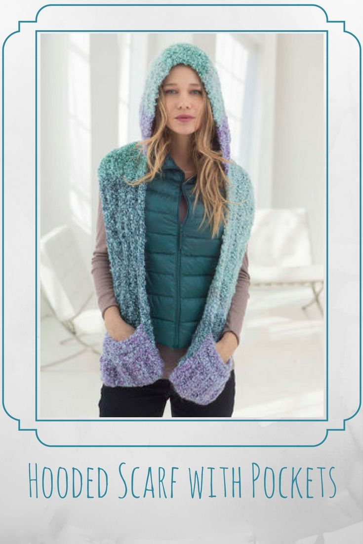 Hooded Scarf with Pockets - free knitting pattern | DIY Crafts ...