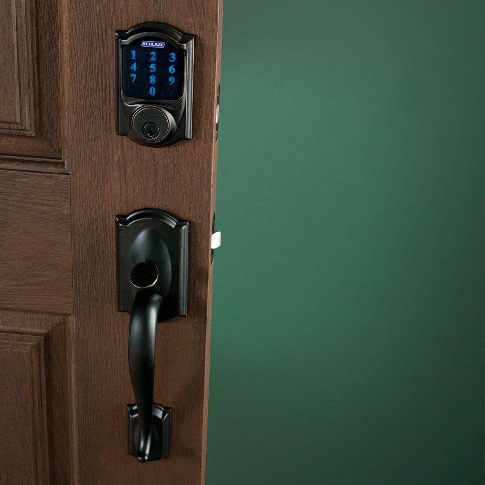 Schlage Camelot Aged Bronze Connect Smart Door Lock With Alarm And Left Handed Accent Lever Handleset Fe469nx Acc 716 Cam Lh The Home Depot Schlage Door Handles Smart Lock