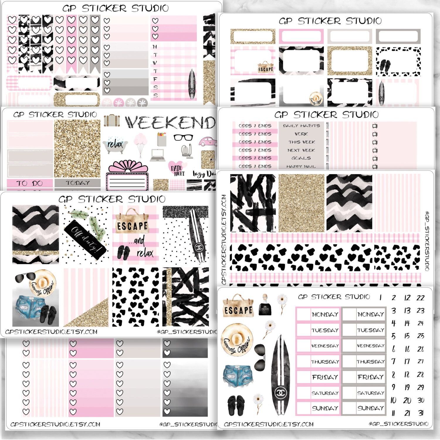 ESCAPE COLLECTION Planner Sticker Kit for your Erin Condren Vertical, Happy Planner, Kate Spade, Filofax, Kikki K and More by GPStickerStudio on Etsy https://www.etsy.com/listing/480714807/escape-collection-planner-sticker-kit