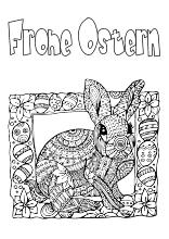Erwachsenen Ausmalbild mit Schriftzug Frohe Ostern | Ostern