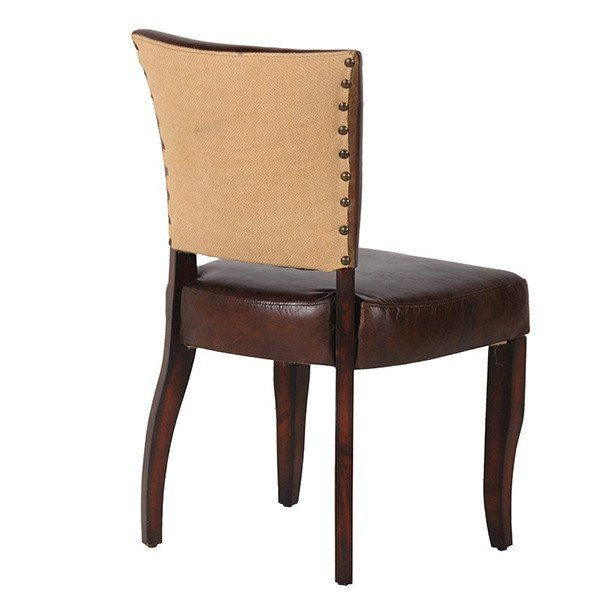 1ae3f358b3138 Brown Leather and Jute Dining Chair with wooden legs- Modish Living