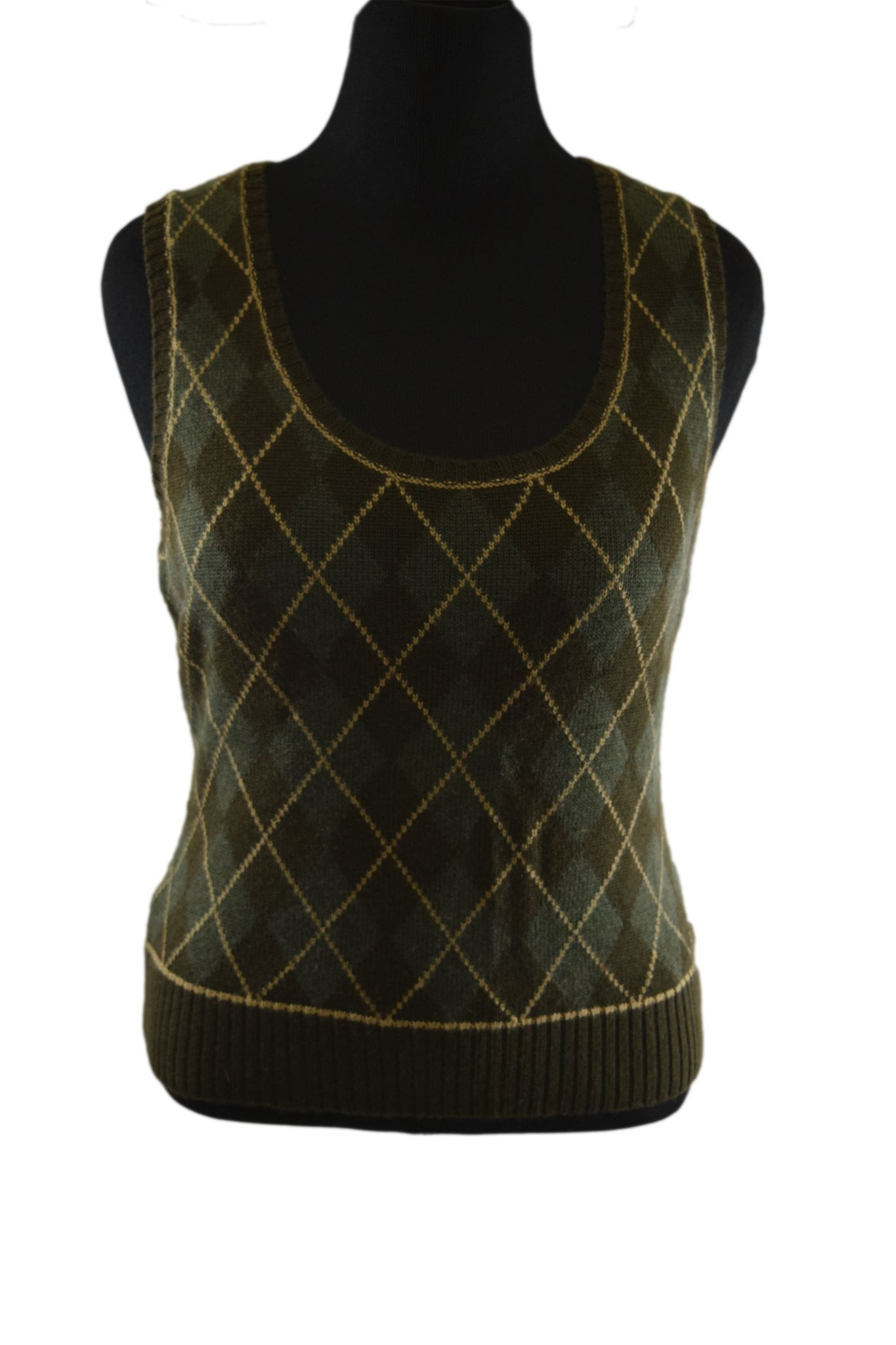 Green/Brown Argyle Sweater Vest- Size: Large | Argyle sweater vest ...