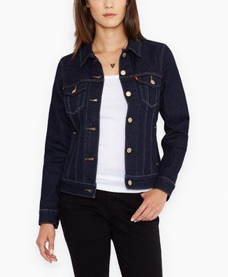 Dark Blue Stretch Denim Jacket for Women | Levi's® | Wear ...