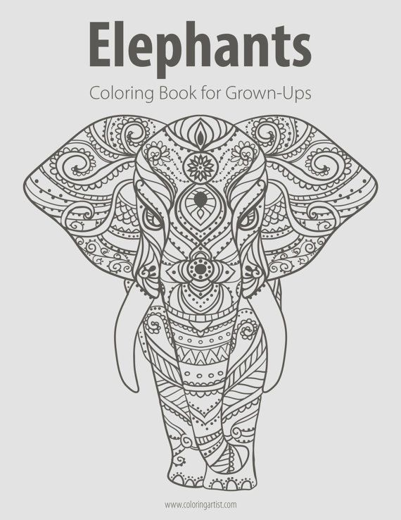 Elephants Coloring Book for Grown-Ups 1 by ColoringArtist on Etsy ...