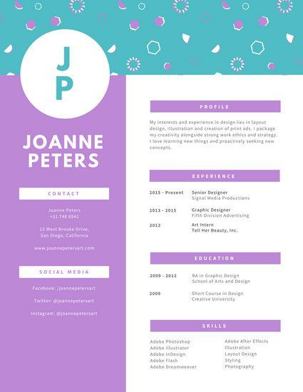 Pastel Funky Pattern Header Graphic Design Resume  Graphic Design