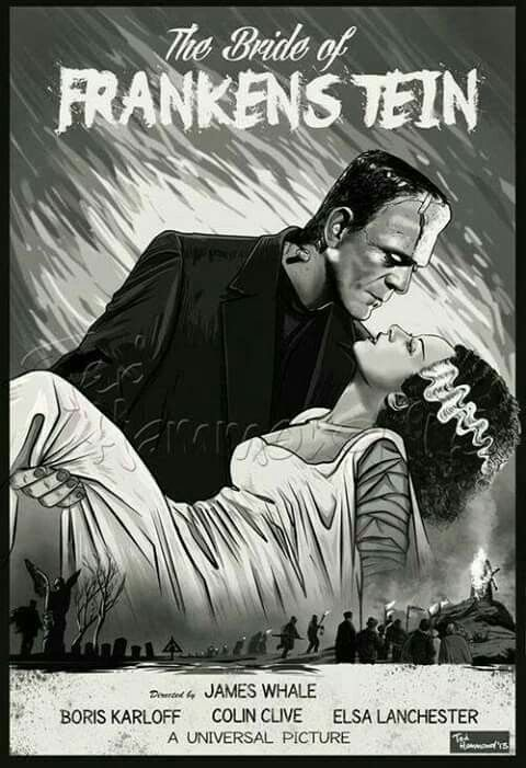 The bride of frankenstein black white movie poster artwork