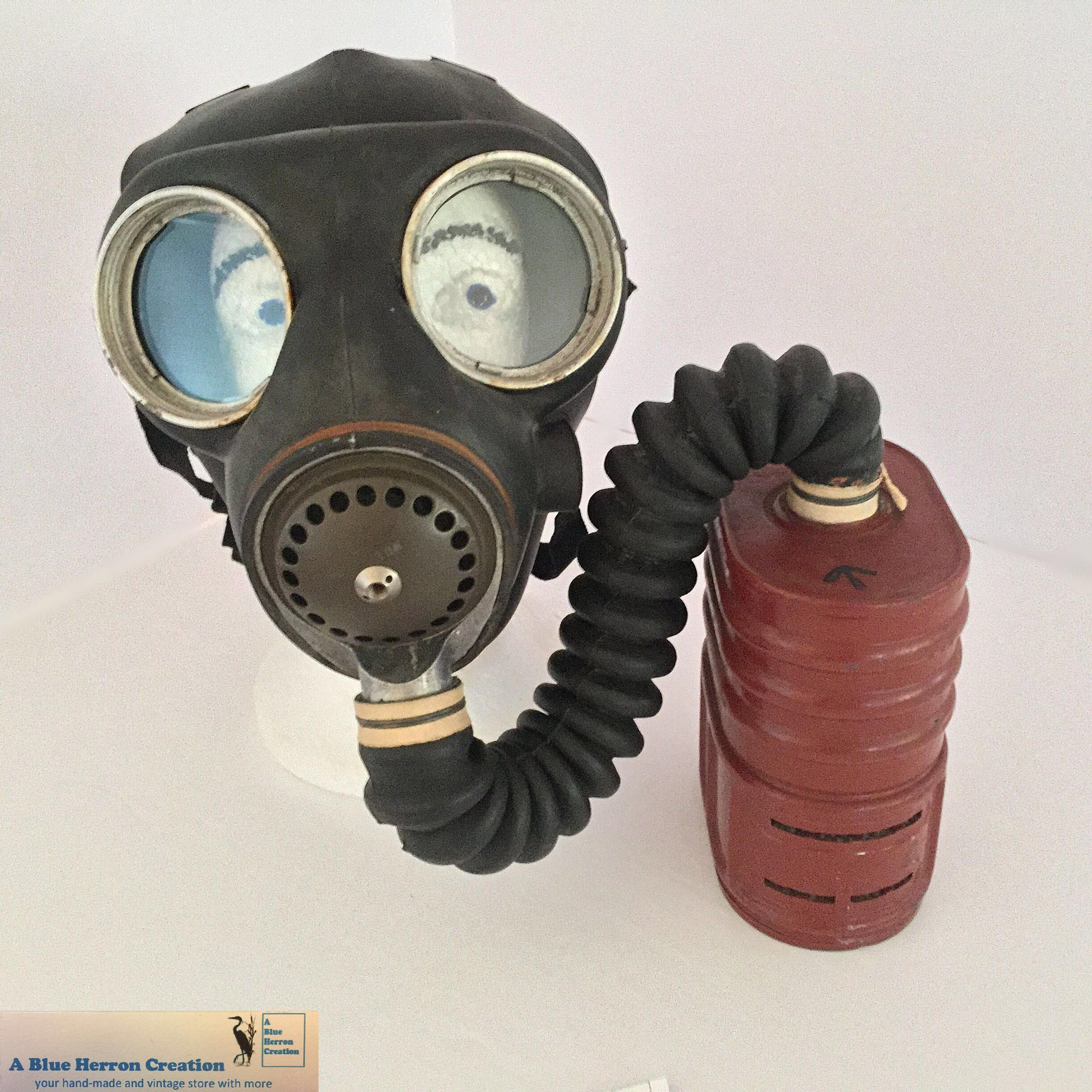 WWII British Gas Mask, Rubber Mask, Coiled tubing & Red