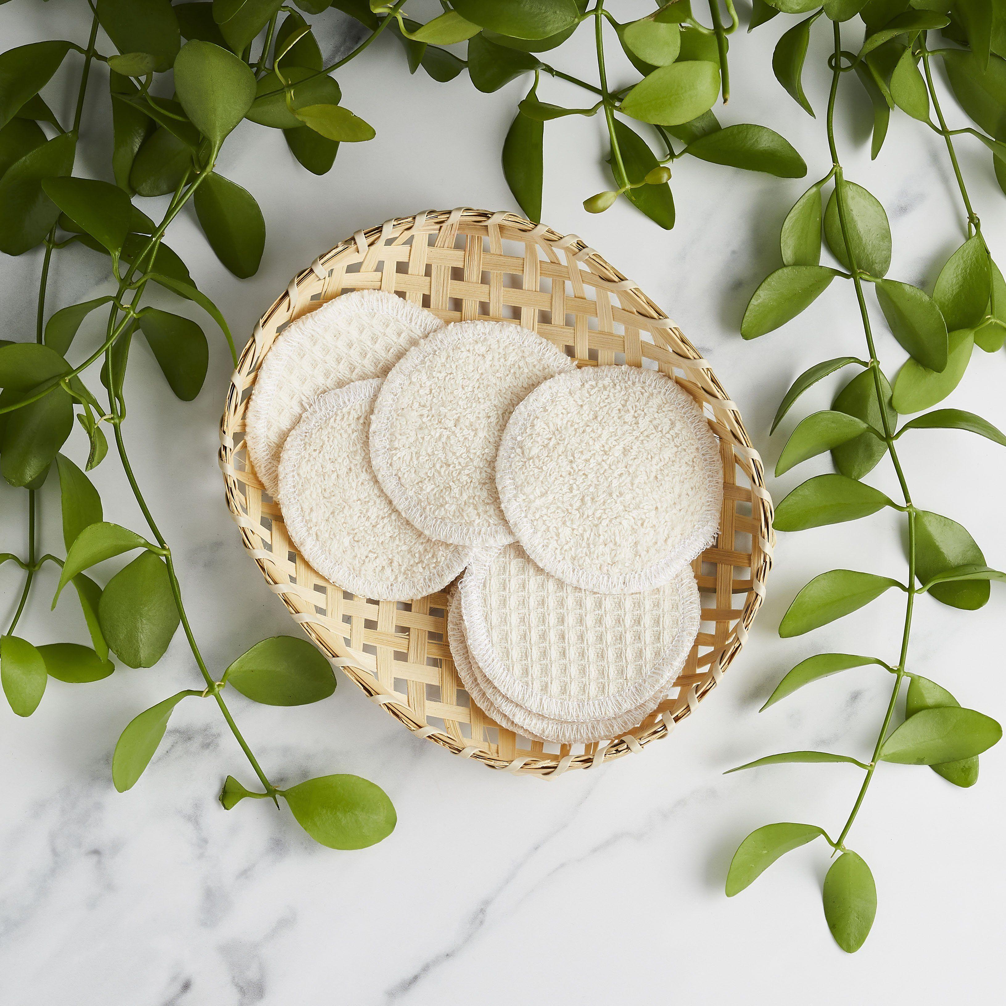 Wiederverwendbare Make Up Runden – Bio-Baumwolle (8 Stück) – 8er-Set mit Aufbewahrungsbeutel