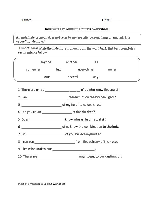 Intensive Pronoun Worksheets 6th Grade - free printable pronoun ...