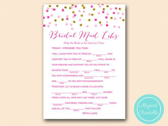 Mad Libs Help Bride Write Her Vows Bridal By MagicalPrintable