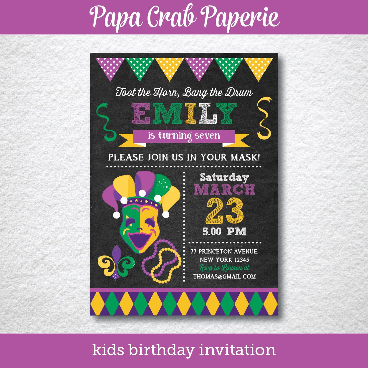 image about Free Printable Mardi Gras Invitations named Immediate Down load, Editable Mardi Gras Birthday Invitation
