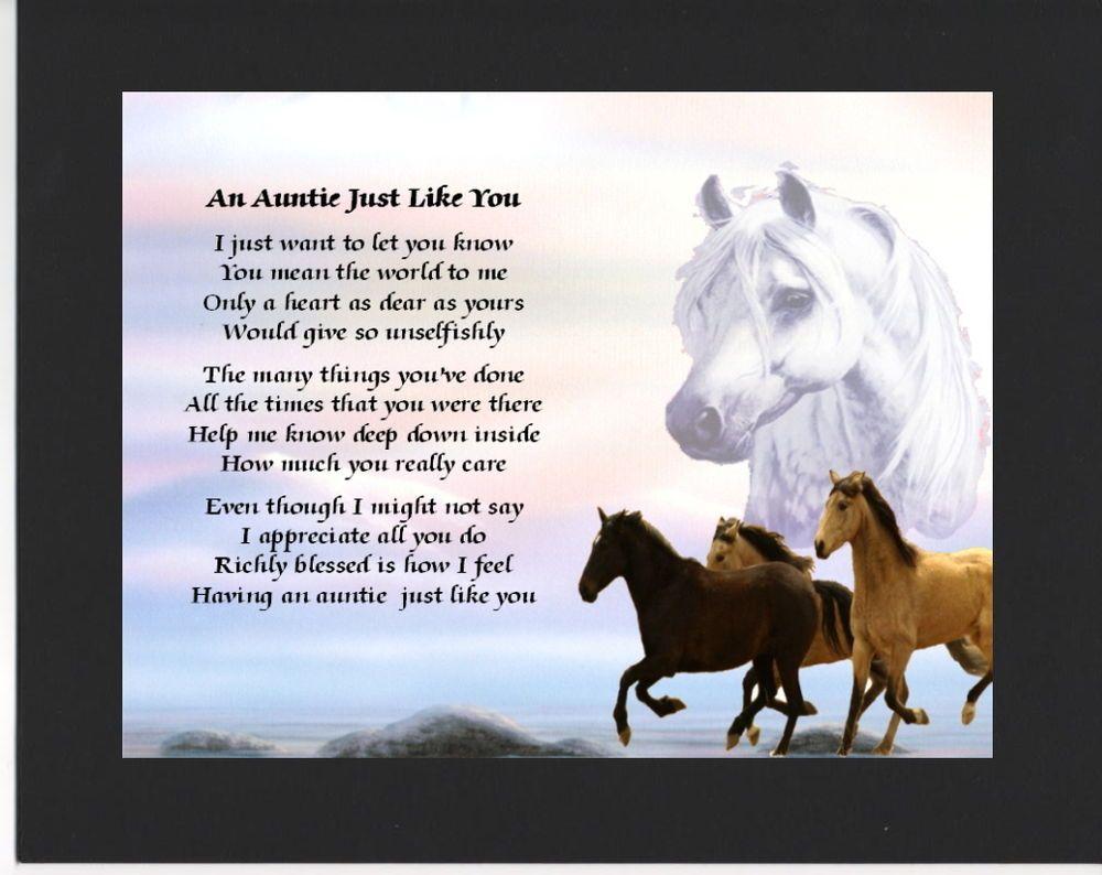Personalised Mounted Poem Print Horses Design Auntie