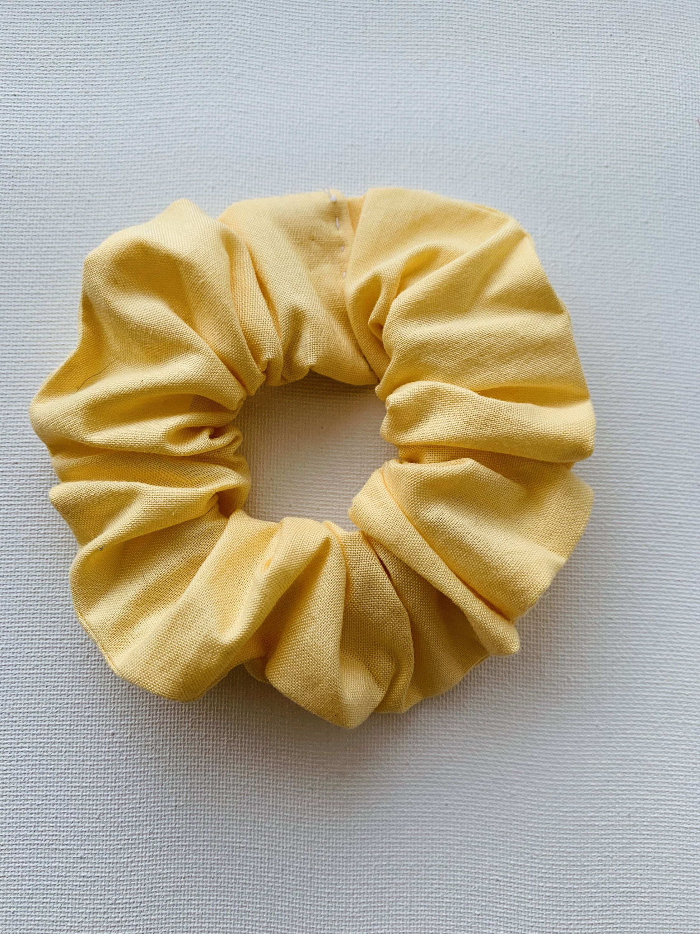 Pastel Yellow Hair Scrunchie, Scrunchy, Top Knot, Hair Tie, Hair Elastic, Hair Accessories, Gift, Present, Handsewn #hairscrunchie