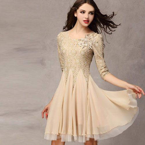 [ghyxh36220]Three Quarter Sleeve Beaded Bodycon Pleated Lace Dress