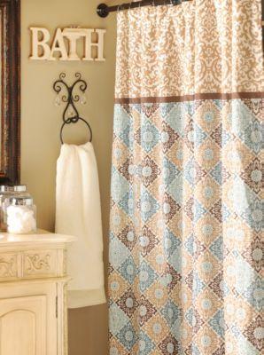 Tan Blue Medallion Print Shower Curtain