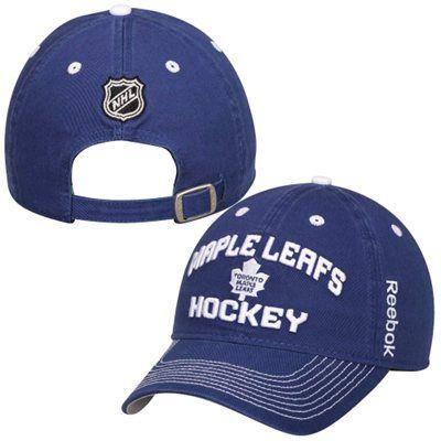Mens Toronto Maple Leafs Reebok Navy Blue Locker Room Slouch Adjustable Hat